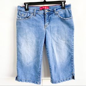 GLO Denim Bermuda Shorts Distressed Snap Pockets